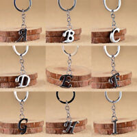Alphabet Letter A-Z Keychain Stainless Steel Keyring Car Key Chain Ring Decor