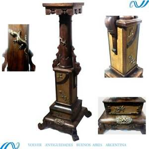 Rare antique oriental chinese China Japan wooden and brass column pillar 1890