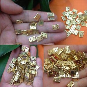 20pcs Small Mini Hinge Decorative Jewelry Cigar Box Hinges Plated Brass+Nails