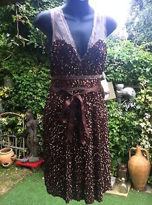 Sequin Cocktail Brown Dress Eileen Kirby  Au Size 10 BNWT Uk Size 8