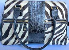 Anne Klein Zebra Handbag Embossed Black Crocodile Leather Trim Fur Gorgeous! EUC