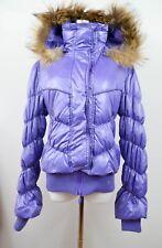 Italien Femmes Vintage 90 S Purple Goose Down vraie fourrure à capuche Manteau Veste Sz M BK37