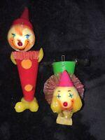 Vintage De Sela Papier Mache Clowns 2 Made in Mexico Christmas Ornaments