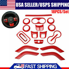 18pcs Red Interior Trim Kit Door Handle Cover For Jeep Wrangler Jk 11-17 2016 Us (Fits: Jeep)