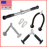Home Gym Cable Attachment Exercise Machine Tricep Rope V Pull Up Bar D Handle US