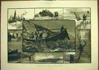 Original Old Antique Print 1883 Fishing Industry Yarmouth Herring Fishery 19th