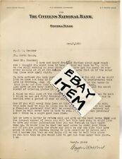 1930 Odessa Texas CITIZENS NATIONAL BANK letterhead BRYAN WALKER Pegues NEWMAN