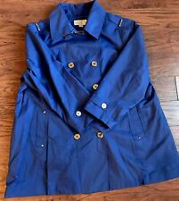 Michael Kors Womens Plus Size Blue Full Lined Trench Coat Jacket Gold Buttons 3X