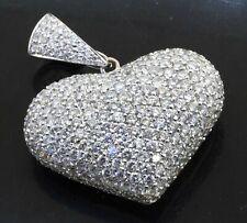 Heavy 18K white gold lovely 5.0CTW VS diamond cluster puffy heart pendant