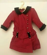 American Girl Dress Rebecca Doll Burgandy Dress w Black Cuffs Collar Gold Rare