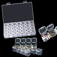 28 Compartments Empty Clear Colorful Storage Box for Nail Gem Rhinestone Sequins