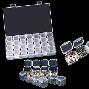 28 Compartments Empty Storage Jar Box For Nail Art Glitter Beads Jewelry Gems