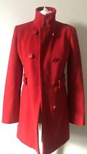 Reiss Red Lambswool Cashmere Knee Length Coat Size XS High Neck Buttons