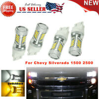 For Chevy Silverado 1500 2500 LED Turn Signal Light Bulbs White-Amber Switchback