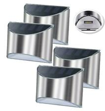 4 X STAINLESS STEEL FENCE SECURITY SOLAR WALL LIGHTS OUTDOOR POST STEP LIGHTS