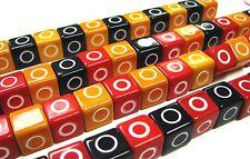 Cube Bead 10x10mm Red Black Orange Bubble Gum Jewelry DIY Beads 50 pcs mix