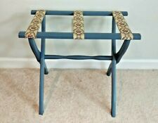 Vtg Scheibe Blue Wooden Folding Luggage Suitcase Rack Tapestry Fabric Straps
