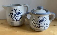 LOUISVILLE STONEWARE GAGGLE OF GEESE COVERED SUGAR BOWL & CREAMER OR SMALL PITCH