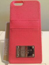 NWT Michael Kors Coral Saffiano Leather IPhone 6 6s Case with 2 Card Sleeves