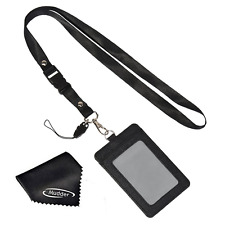 Leather ID Card Badge Holder With Detachable Neck Strap Lanyard 2 Sided Pocket