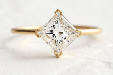 Solid 10k Yellow Gold 2.0ct Princes Cut Vvs Moissanite Solitaire Engagement Ring