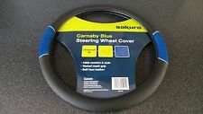 Car Steering Wheel Cover/Glove Universal Soft Grip Grey Faux Leather/Blue Mesh