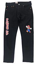 Levis X Super Mario 501 Slim Taper Jeans Mens Black Button Fly Stretch Nintendo
