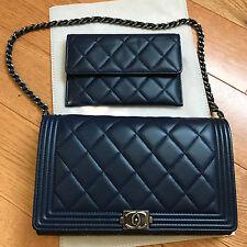 Authentic Chanel Blue Lambskin Le Boy WOC Wallet On a Chain bag 2 pc set
