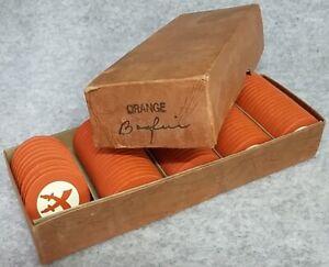 Boxed Set 90 Round Casino Gaming Poker Chips Counters Orange Baglioni Vintage