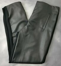 Chicos Slim Ankle Pant Faux Leather Front Pull On Black KNIT STRETCH SZ 0.5