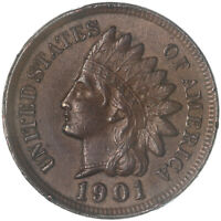 1901 Indian Head Cent About Uncirculated Penny AU