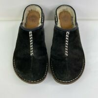 UGG Australia Womens Clogs Shoes Black Leather Slip On Wedge Shearling Lined 8