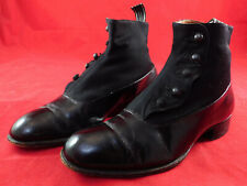 Victorian A. Jones & Sons Bootmakers London Mens Black Wool Leather Button Boots