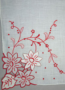 Vintage Madeira Red Embroidered Appliqued Floral Handkerchief