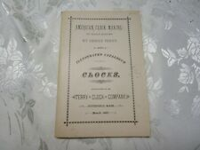 Terry Clock Company catalogue book 1885 reprint by Henry Terry