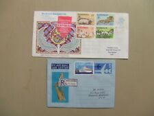 Two Gb aerograms registered express from Bahamas.One complete set,one high value