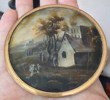 Belle Miniature fixé sous verre XIXéme scéne animée de personnages