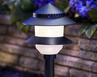 Moonrays 97171 Low-Voltage Plastic 2-Tier Path Light, 4-Watt, Black