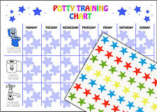 REUSABLE Boys Potty Training Reward Chart 63 Star Stickers and A4 Chart