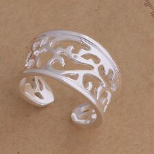 925 Sterling Silver Plated Adjustable Ring Thumb Finger Ring Reaching Flower
