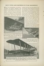 1921 Magazine Article New War Machinery Developed Since Wwi Military Planes