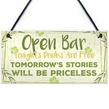 Open Bar Tiki Signs Home Garden Plaque Pub Kitchen Man Cave Sign Friendship Gift