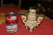 Chinese White Carved Pill Box Incense Holder-Dragons Cranes Foo Dog-Signed