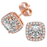 Blush Rose Gold Halo Stud Earrings w/ 10mm Cushion Swarovski Crystal Prom Gift
