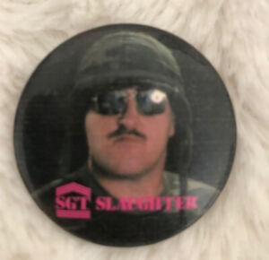 WWF Wrestling Superstar vintage 1980'S button Sargeant Slaughter Patriotic