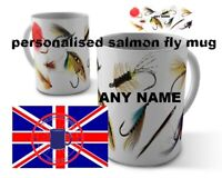 Salmon  fly fishing game angling  mug personalised 110z