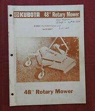 1978 Kubota 6000 Tractor K 248 6 K 348 7 Rotary Mower Operators Amp Parts Manual