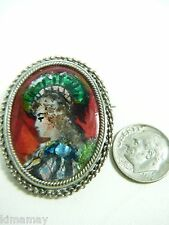 ANTIQUE STERLING LIMOGES SIGNED DUBOIS ENAMEL PORTRAIT  PIN WITH PAILLONS