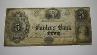$5 1854 Palmyra New York NY Obsolete Currency Bank Note Bill! Cuylers Bank RARE