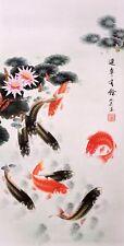 100% ORIGINAL ASIAN ART CHINESE ANIMAL WATERCOLOR PAINTING-Koi fishes carp&Lotus
